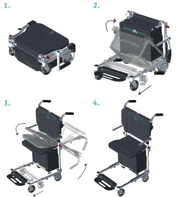 چمدانی که به صندلی چرخدار تبدیل میشود