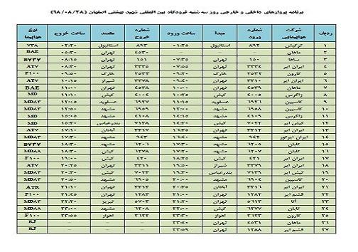 فهرست ۲۷ پرواز داخلی وخارجی فرودگاه اصفهان