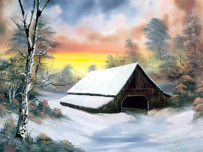 زیباترین نقاشیها از فصل پاییز و زمستان+ تصاویر