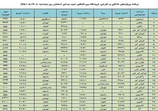 فهرست ۲۶ پرواز داخلی وخارجی فرودگاه اصفهان