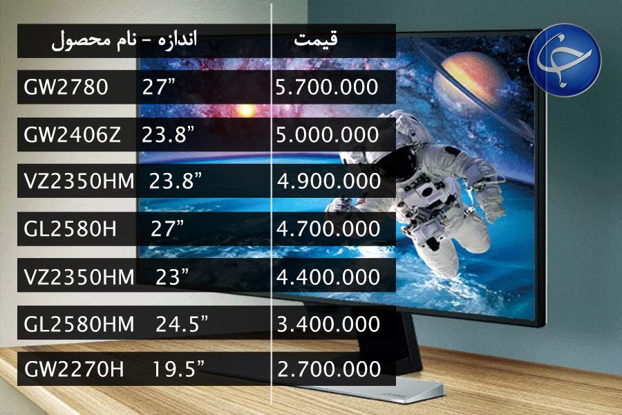 آخرین قیمت انواع نمایشگر در بازار (تاریخ  30 مرداد) +جدول