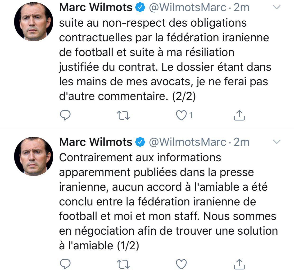 ویلموتس: هیچ توافق دوستانهای میان من، دستیارانم و فدراسیون فوتبال ایران حاصل نشده است