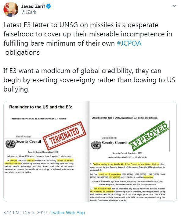 واکنش تند ظریف به نامه اتهامآمیز تروئیکای اروپایی به سازمان ملل