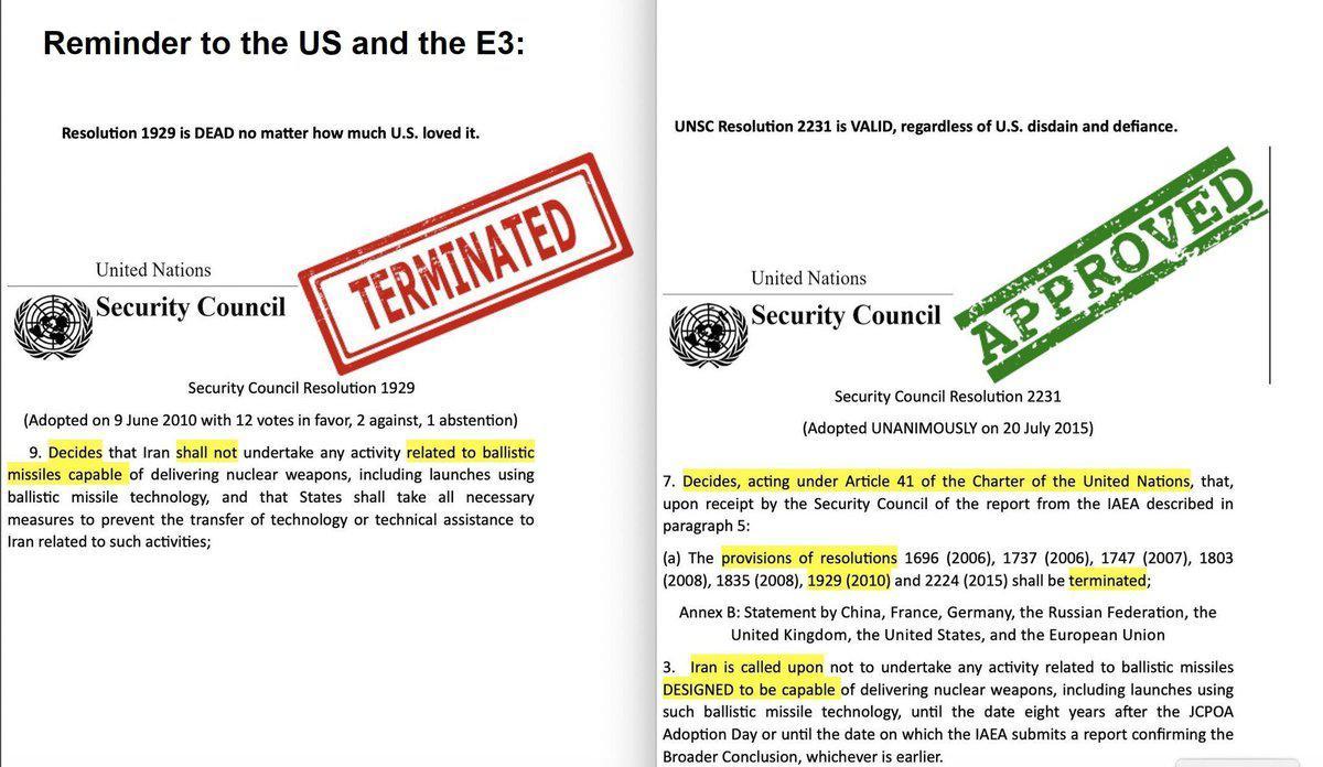 انتقاد شدید ظریف از اقدام اروپایی ها در ارسال نامه درباره برنامه موشکی ایران به شورای امنیت