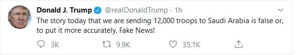 ترامپ اعزام ۱۲ هزار نیرو به منطقه را تکذیب کرد