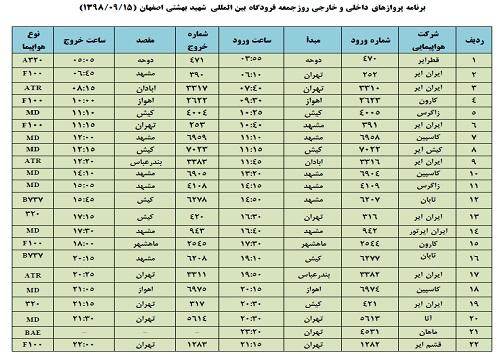 فراز و فرود ۲۲ پرواز داخلی و خارجی در فرودگاه بین المللی اصفهان