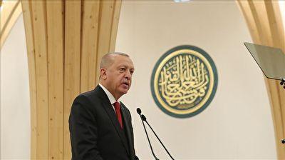 تلاوت قرآن توسط اردوغان در مراسم افتتاح مسجد کمبریج قرآن + فیلم