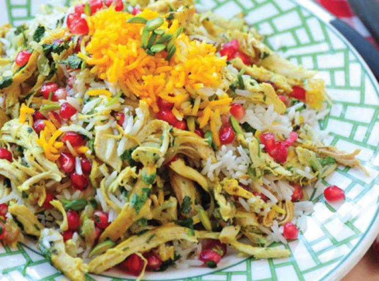 طرز تهیه ساده انار پلو مجلسی با مرغ برای شام شب یلدا + انار پلو شیرازی و قزوینی