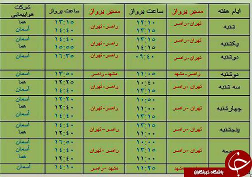 پروازهای سه شنبه ۱۹ آذرماه فرودگاههای مازندران