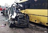باشگاه خبرنگاران -فوت و مصدومیت ۵ نفر بر اثر تصادف ۱ دستگاه اتوبوس با ۳ ون