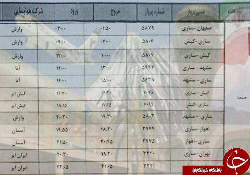 پروازهای جمعه ۲۲ آذرماه فرودگاههای مازندران