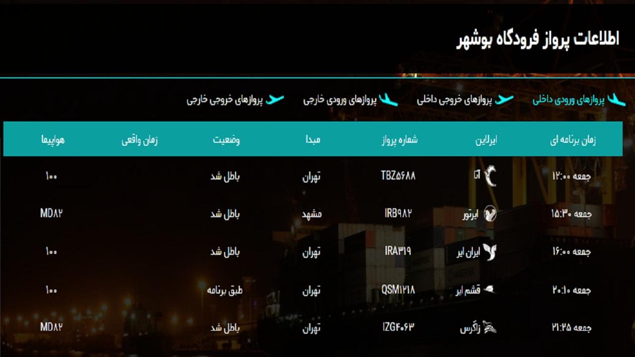 فرودگاه بوشهر امروز یک پرواز دارد