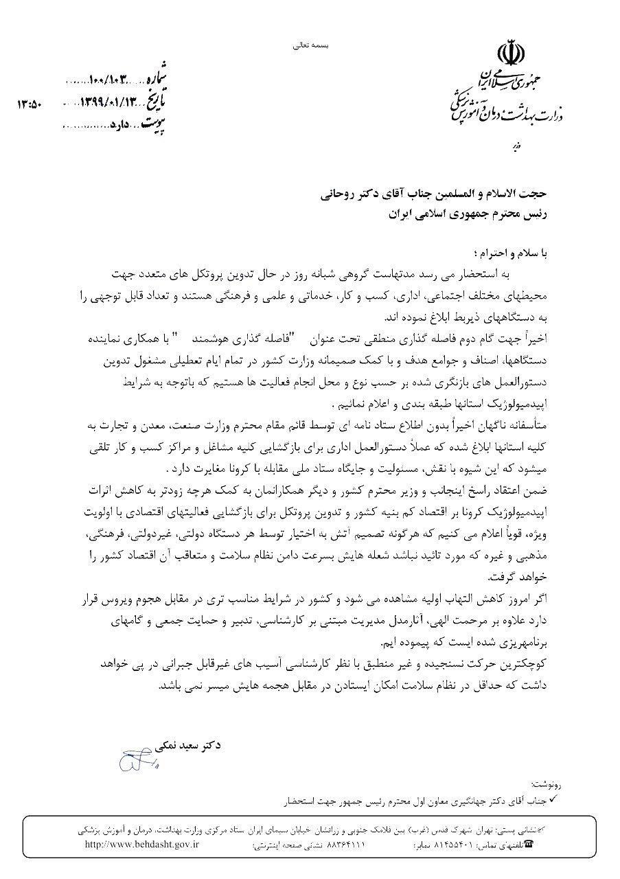 هشدار وزیر بهداشت درباره بازگشایی مشاغل و مراکز کسب و کار