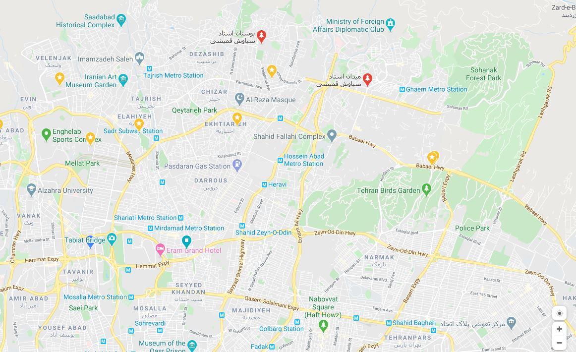 شیطنت گوگل در تغییر نام اماکن تهران به نام یک خواننده لوس آنجلسی