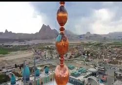 روایتی از پرداخت شمسه ی گلدسته های مسجد مقدس جمکران + فیلم