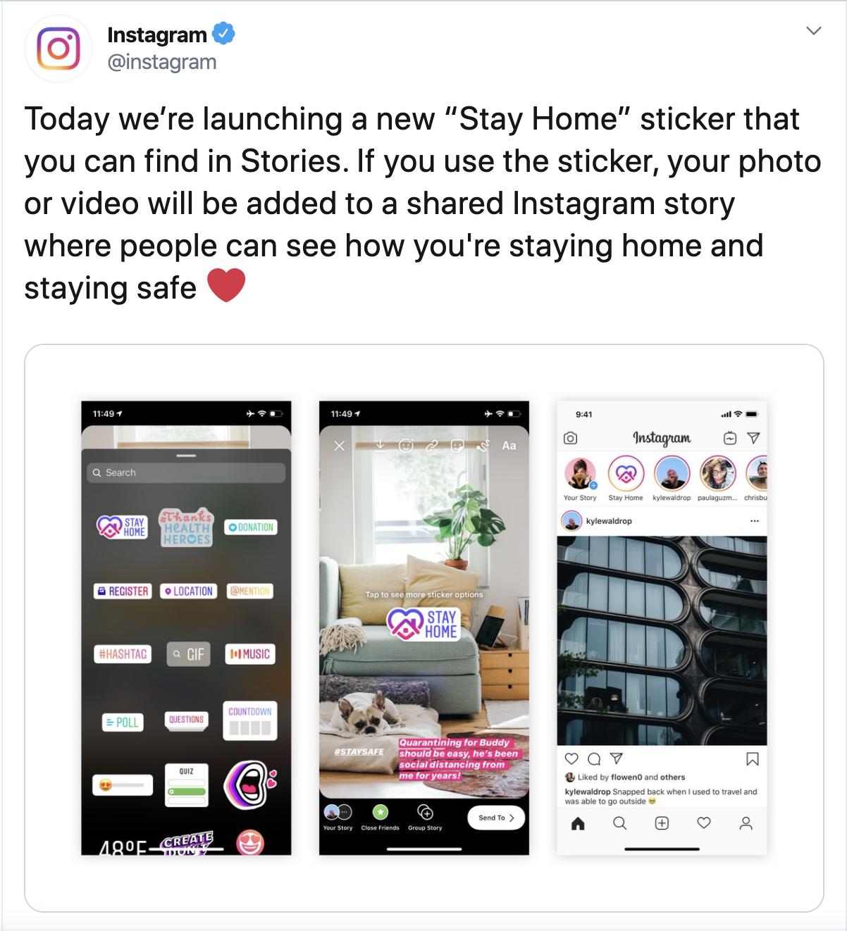 دعوت اینستاگرام از کاربران برای در خانه ماندن