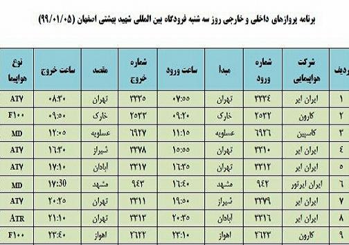 برنامه پروازهای ۵ فروردین فرودگاه شهید بهشتی