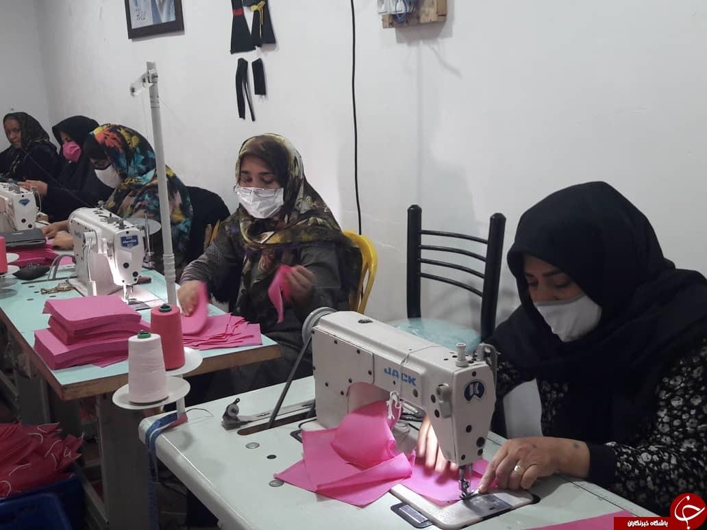 کارگاههای تولید پوشاک در گناوه، ماسک تولید میکنند