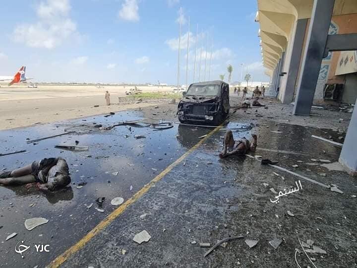 انفجار و تیراندازی در فرودگاه بین المللی عدن+ فیلم
