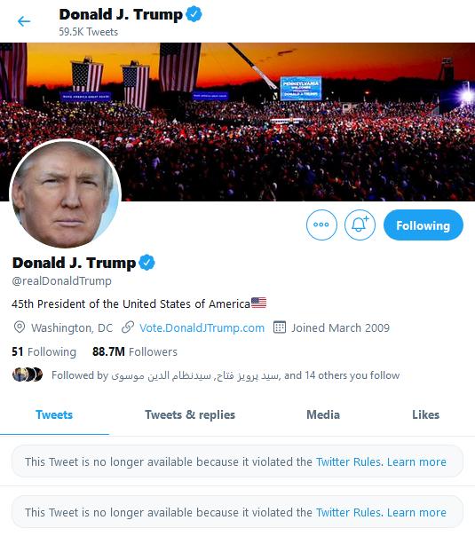 حساب ترامپ در توئیتر و فیسبوک موقتا مسدود شد