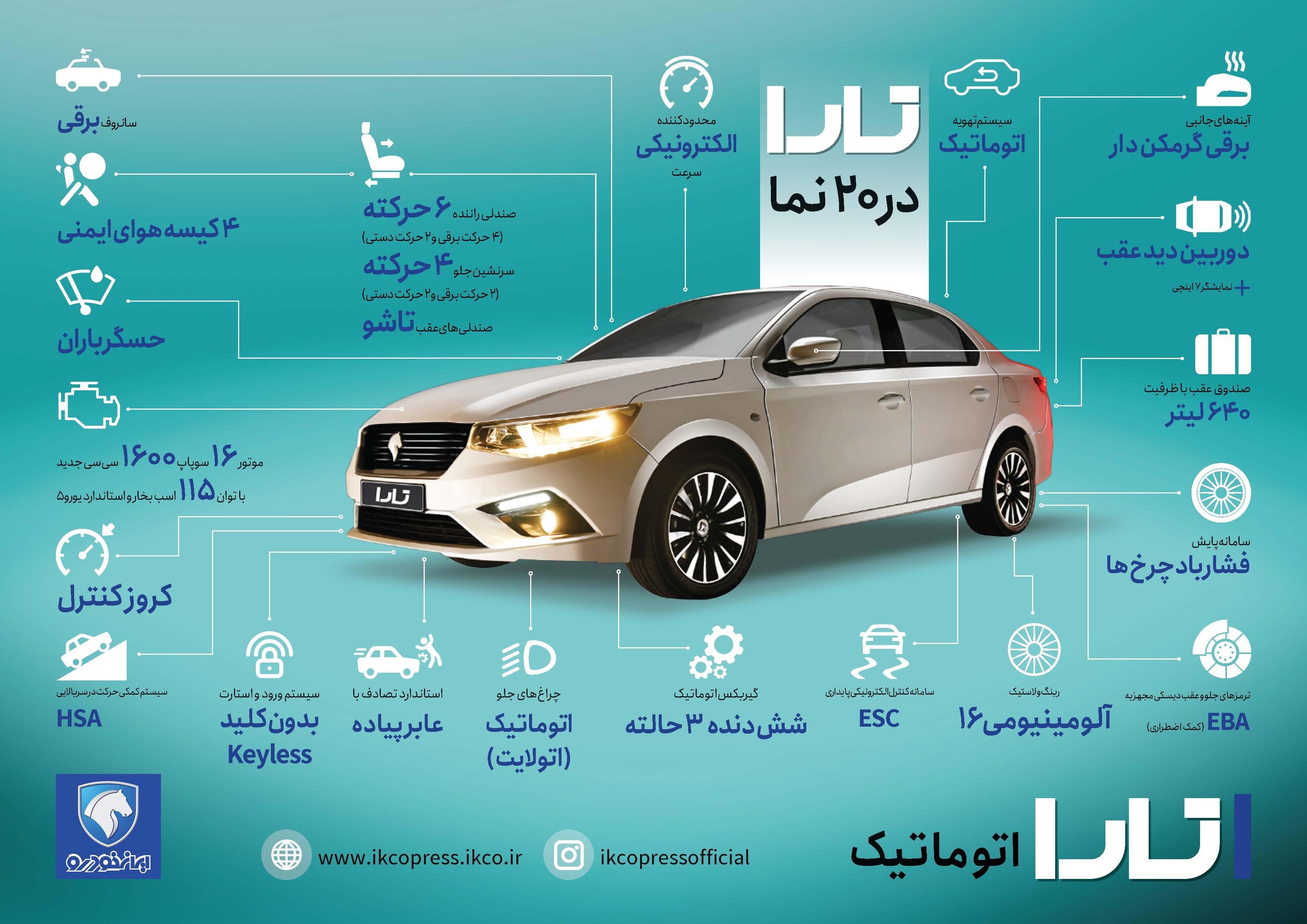 مشخصات فنی خودرو تارا اعلام شد