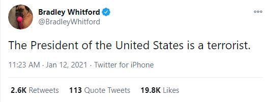 بازیگر آمریکایی ترامپ را یک تروریست خطاب کرد