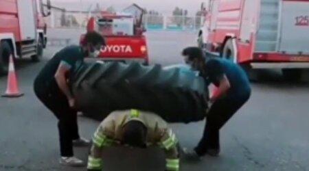ویدئویی تماشایی و جالب از قدرت آتش نشان یزدی