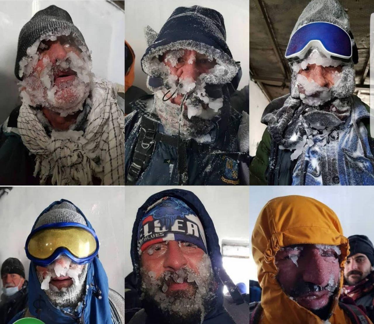 اولین تصاویر از کوهنوردان یخ بسته در ارتفاعات تهران