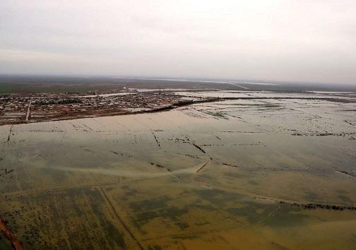 به زیر آب رفتن زمین های کشاورزی در خوزستان
