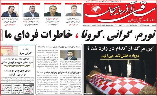 صفحه نخست روزنامههای استانی