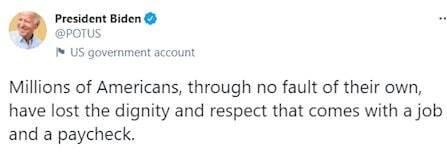 بایدن: در دوران کرونا میلیونها آمریکایی بیکار شدند