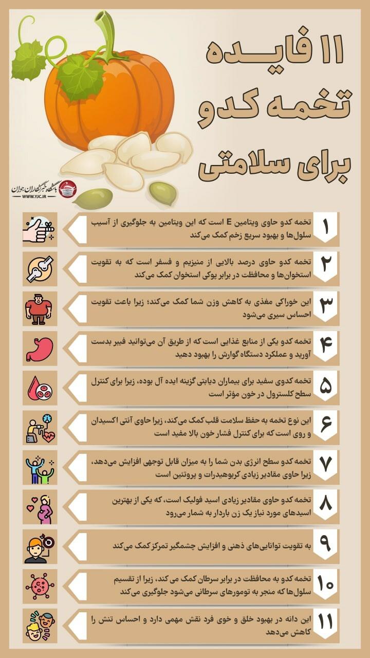 اینفوگرافیک؛ ۱۱ فایده تخمه کدو برای سلامتی