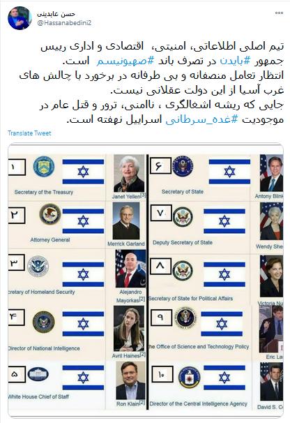 واکنش حسن عابدینی به انتخاب اعضای کابینه جو بایدن
