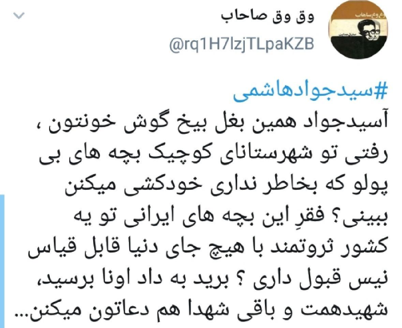 واکنش کاربران به انتشار ویدئوی جنجالی از سیدجواد هاشمی