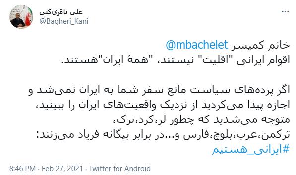 واکنش باقری کنی به ادعای کمیسر سازمان ملل در مورد اقوام ایرانی