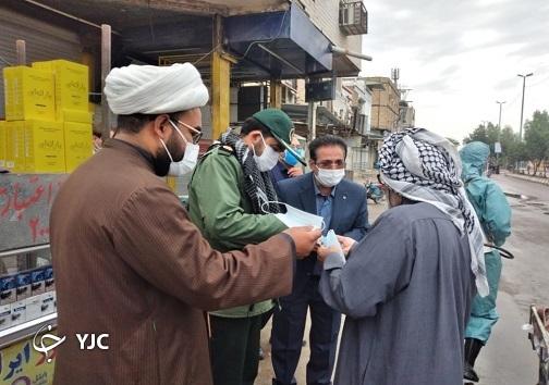 برگزاری رزمایش ضدعفونی ادارات و توزیع ماسک در دشت آزادگان/ با یا زینب (س) به جنگ کرونا میرویم