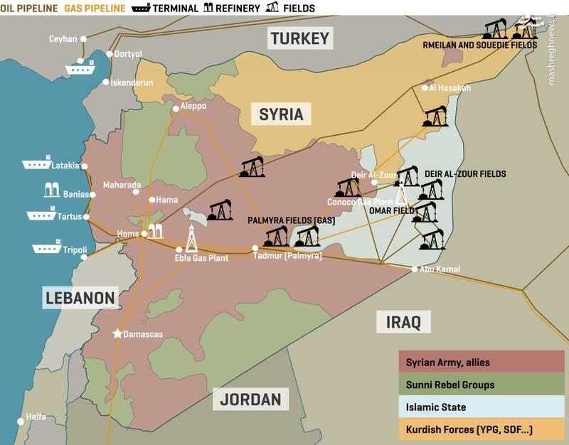 درآمد چند میلیونی تروریستها از سرقت نفت سوریه / خسارت ۹۰ میلیارد دلاری صنعت نفتی سوریه از زمان آغاز جنگ