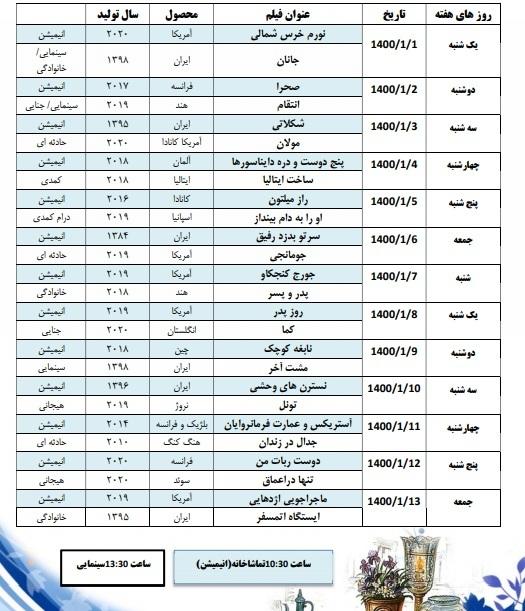 قاب سینمایی شبکه پنج سیما در نوروز ۱۴۰۰ + جدول
