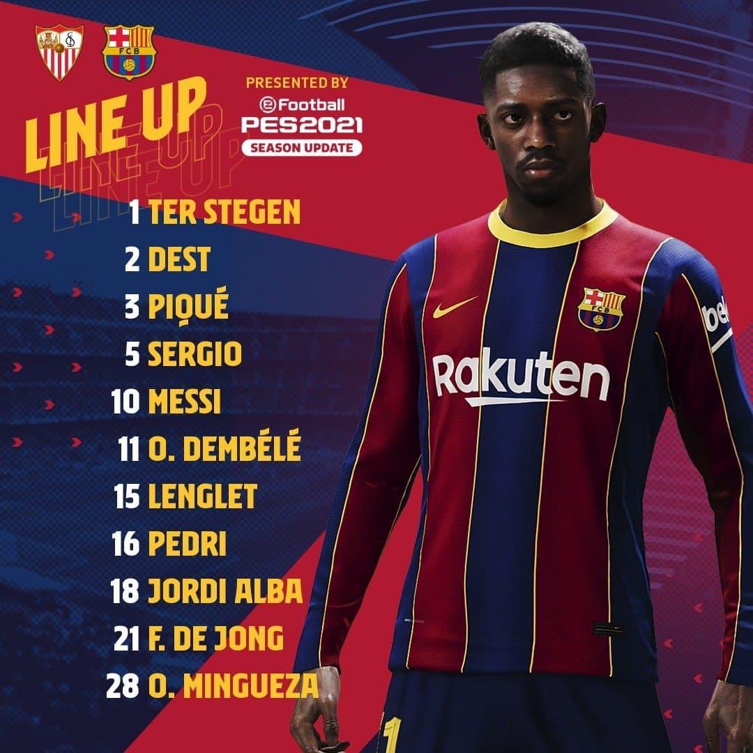 ترکیب بارسلونا برای بازی با سویا اعلام شد