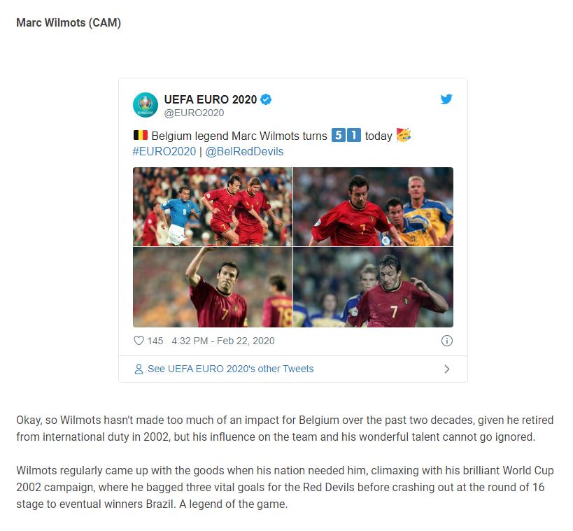 ویلموتس در میان برترینهای ۲ دهه اخیر فوتبال بلژیک