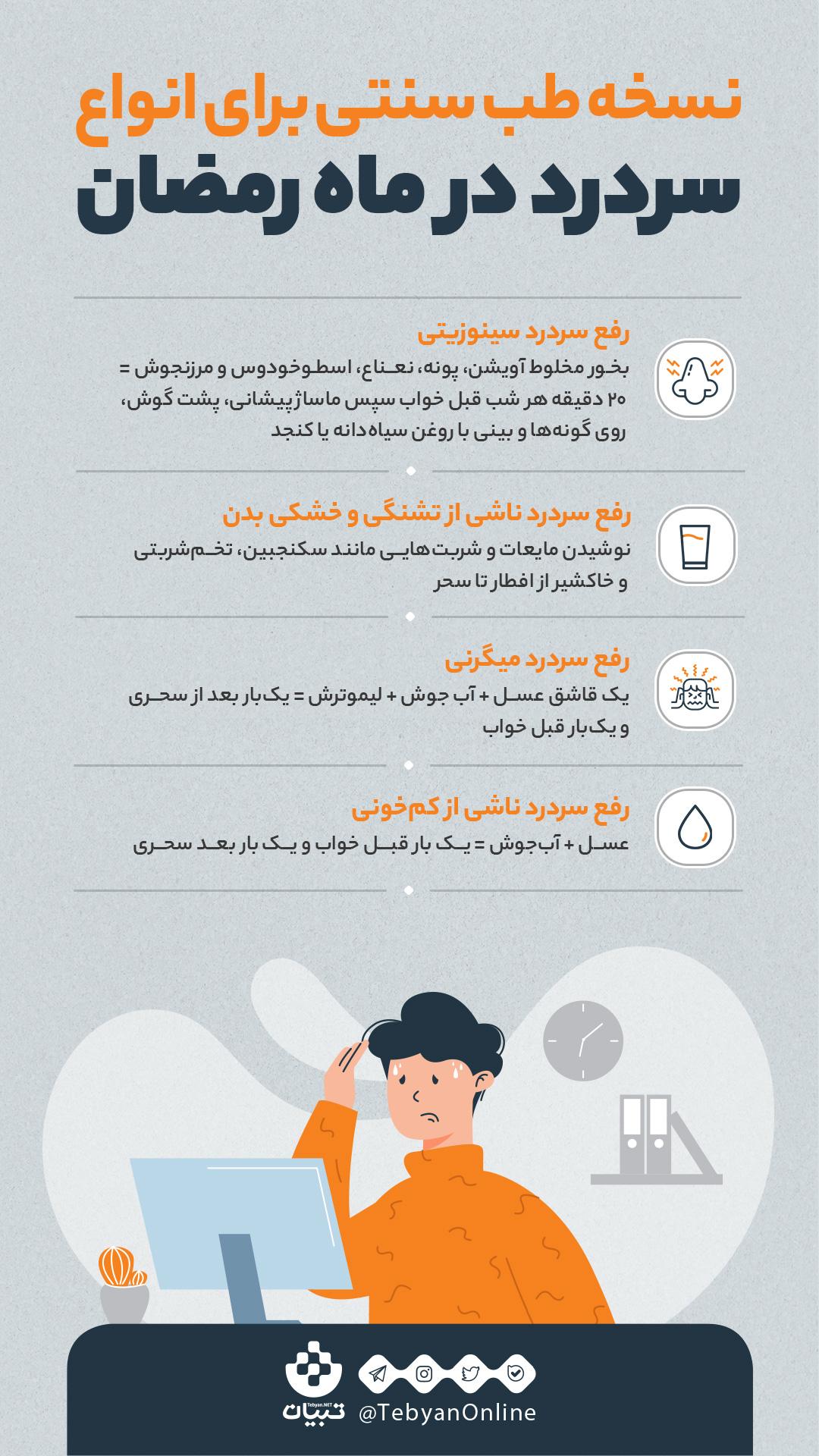 نسخه طب سنتی برای انواع سردرد در ماه رمضان + اینفوگرافی