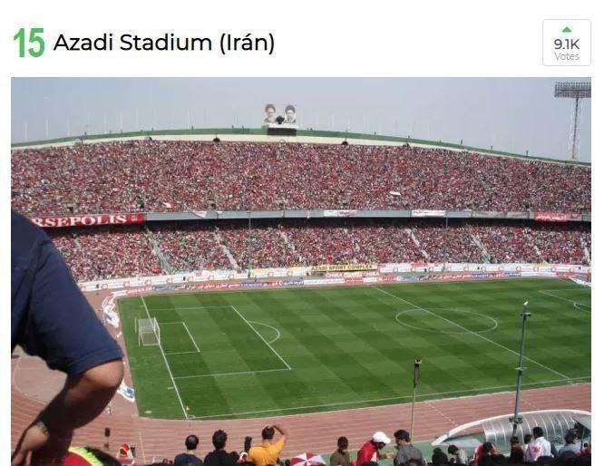 ورزشگاه آزادی، پانزدهمین استادیوم برتر جهان شد