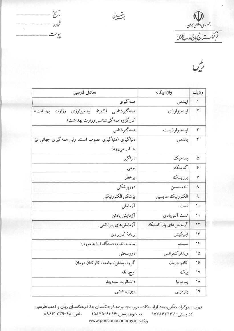 نامه حدادعادل به رئیسجمهور برای کاربرد معادل فارسی لغات بیگانه در حوزه سلامت