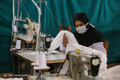 تولید البسه بیمارستانی و ماسک توسط گروهای جهادی