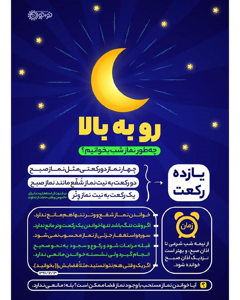 چگونه نماز شب بخوانیم؟ + اینفوگرافیک