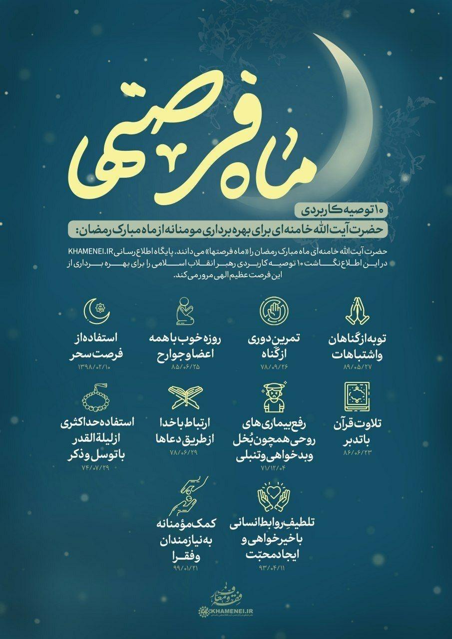 ۱۰ توصیه رهبر انقلاب برای ماه رمضان