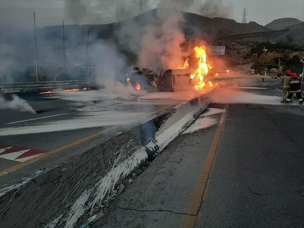 واژگونی تانکر حامل سوخت در جاجرود/ فوت یک نفر در حادثه