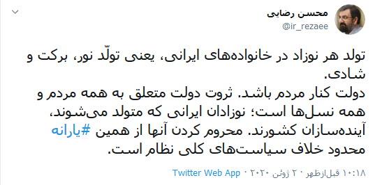 واکنش محسن رضایی به حذف نوزادان از شمارش آماری یارانه
