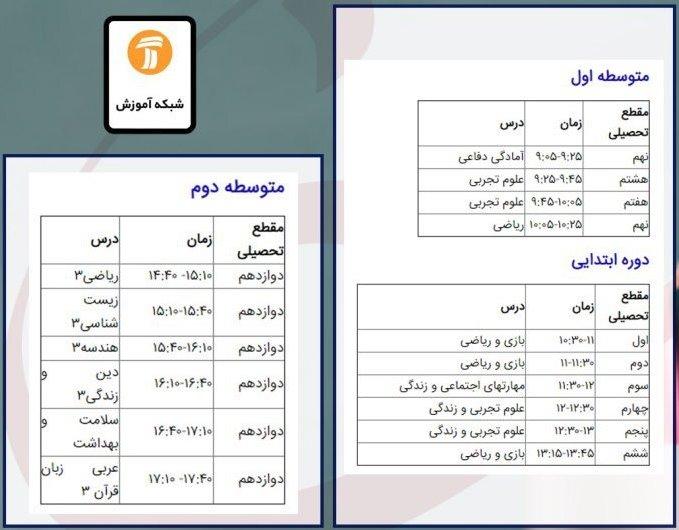 برنامه درسی ۱۴ خرداد شبکههای تلویزیونی