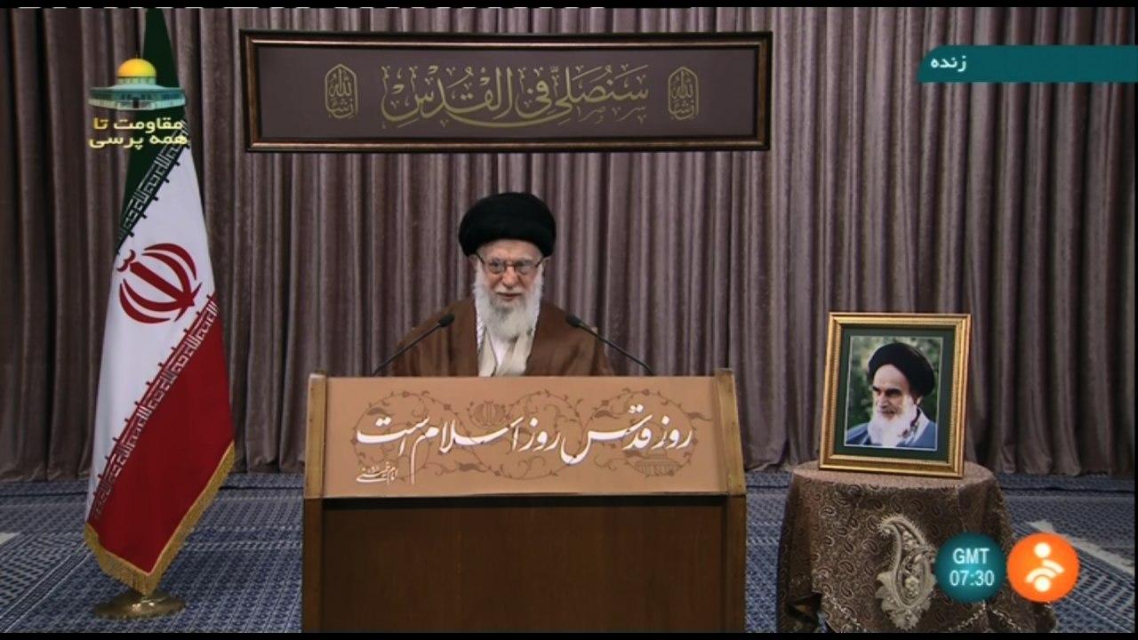 ترجمه آیه نصب شده در حسینیه امام خمینی (ره) در سخنرانی روز قدس رهبر انقلاب